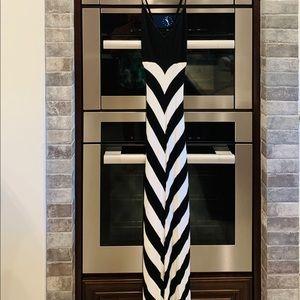 BeBe Black/White Stripe Knit Maxi Dress, Lined